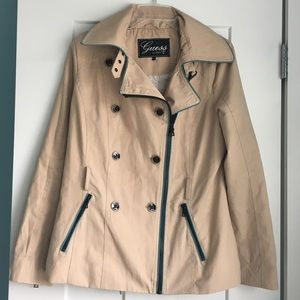 GUESS Beige Trench Coat Size L